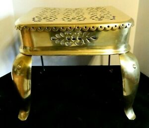 Antique 1880 Ornate English Brass And Iron Fireplace Trivet Or Footman Stool
