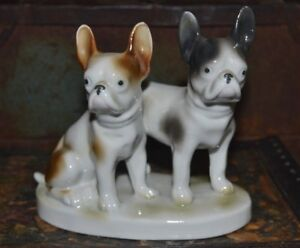 Vintage French Bulldogs Porcelain Figurine Germany 7522