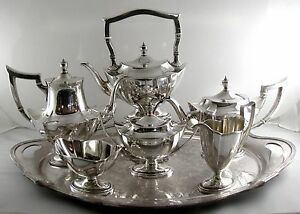 Sterling Gorham Plymouth Tea Set With Matching Tray 6 Piece Set 1916 19