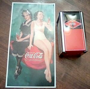 Vintage Collectible Coca-Cola Napkin Holder -50th Anniversary Sign Bathing Suits