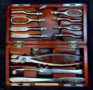 19th C Antique Medical Surgical Tool Cased Kit George Tiemann Co Ny Complete