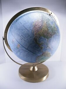 Vintage Replogle Dual Axis Land And Sea Globe Earth Rare 12 Raised Relief