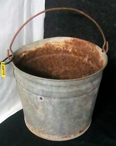 Antique Vintage Rustic Primitive Galvanized Metal Garden Planter Pail Bucket