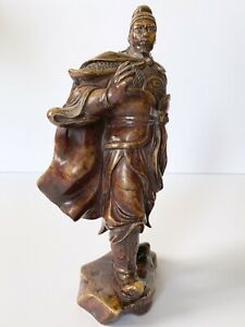 Antique Chinese Guan Yu Soapstone Carving Sculpture Art
