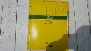 John Deere 500 Round Baler Technical Repair Manual Tm 1140 1976