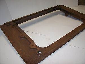 Antique Vintage Gas Boiler Cast Iron Steel Grate End Cover Plate Rectangle 0s
