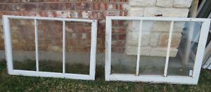Vintage Sash Antique Wood Window Picture Frame 23 75 X 36 Set 5