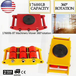 Heavy Duty Machine Dolly Skate Machinery Roller Mover Cargo Trolley 8t 17600lbs
