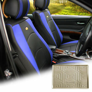 Car Suv Truck Pu Leather Seat Covers Front Bucket Blue W Dash Mat For Auto