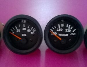 52mm 2 Elec Oil Pressure Gauge 80 Psi And Temp Gauge Black Bezel
