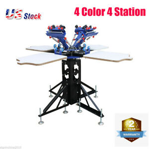 4 Color 4 Station Screen Printing Machine Micro adjust Rotatable T shirt Printer