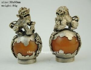 China Tibet Silver Mosaic Jade Dragon Phoenix Foo Dog Lion Statue Pair Ball