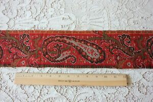 Antique Wool Paisley Kashmir Shawl Border Fabric L 59 X W 4