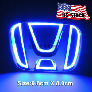 Car 5d Led Rear Tail Logo Light Badge Emblem For Honda Accord Odyssey Civic Blue