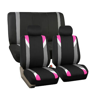Car Seat Cover Set For Auto Sporty Pink W 2 Headrests