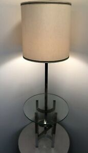 Vintage Mid Century Danish Modern Chrome 1970s Milo Baughman Table Floor Lamp