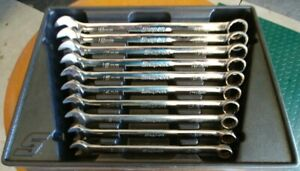 Snap On Tools 10 Pc Standard Length Metric 12 Pt Combination Wrench Set Oexm710b