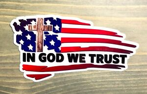 Jesus Flag Cross Sticker Decal Tattered Usa Us Distressed American In God We Po