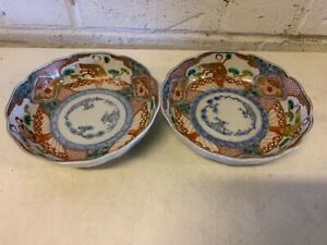 Antique Japanese Imari Pair Of Bowls With Figural Decorations