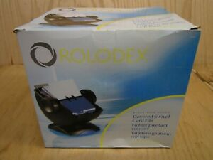 New Rolodex Black Covered Swivel Card File With 200 Sleeved Cards 67242