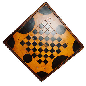 Antique Primitive Painted Stained Wood Checker Gameboard