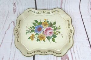 Vintage Large Tray Tole Metal Floral Hand Painted 17 X 13