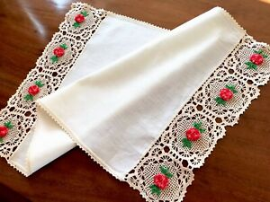 Vintage Hand Crochet Roses Cream Linen Table Centre Tray Cloth 24x14 Inches