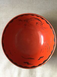 Large Orange Chinese Porcelain Bowl With Hand Painted Chinoiserie Dragon Design
