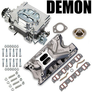 625 Cfm Street Demon Carburetor Ford 351w Windsor Manifold Combo Kit Demon Hat