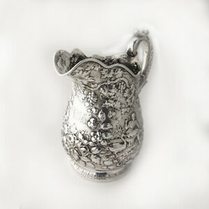 Large Water Pitcher Repousse Coin Silver 11 Ozs Kirk 1850 1870