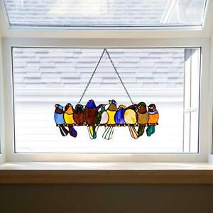Stained Glass Window Panel Wall Hung Decor Sun Catcher Art Multi Birds On A Wire
