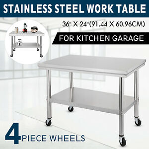 36x24 Stainless Steel Work Table 4 Casters Overshelf Cafeteria Restaurant