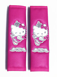 Hello Kitty Sanrio Faux Leather Car Seat Belt Shoulder Pads Covers Pair angel