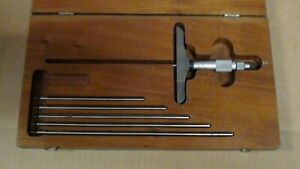 Starrett 445 Micrometer Depth Gage With 5 9 Rods And Wood Case