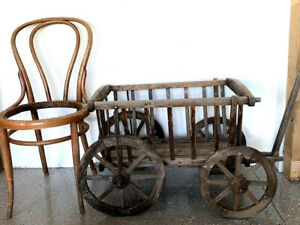 Antique Wooden Goat Cart Wagon Primitive Decor Free Chair Local Pick Up Only