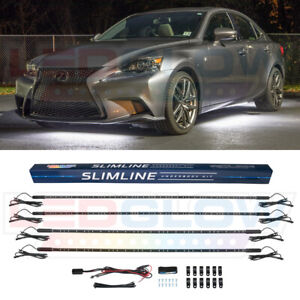 New Ledglow 4pc White Slimline Led Under Car Neon Light Kit W 4 Tubes 126 Leds