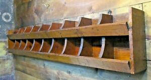 Antique Primitive Wooden Cubby Country Farm Wall Shelf Pigeon Hole Store Cabinet
