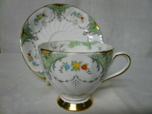 Vintage Tuscan England Bone China Cup Saucer Green Floral