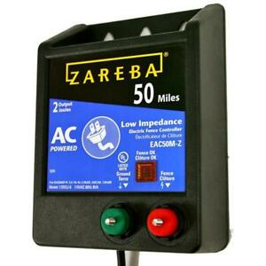 Zareba 50 Mile Ac Low Impedance Energizer Electric Fence Controller Fuseless New