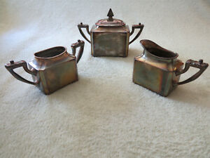 Vtg Meriden Silver Plate Co Sugar Cream And Waste Bowl 4pc Set 4608 Tea Coffee