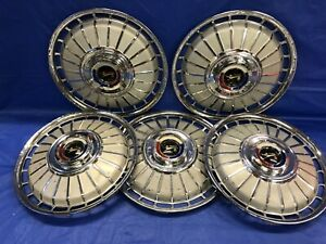 Vintage Set Of 5 1962 Ford 14 Hubcaps Fairlane Galaxie