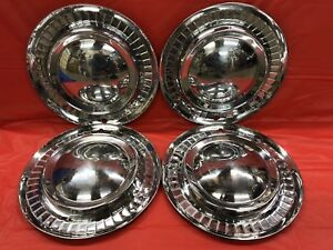 Vintage Set Of 4 1956 Plymouth 15 Hubcaps Belvedere Fury Savoy Suburban