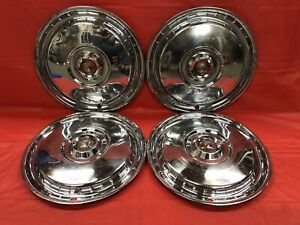 Vintage Set Of 4 1955 56 Ford 15 Hubcaps Thunderbird Crown Victoria Fairlane