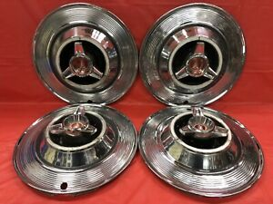 Vintage Set Of 4 1964 Plymouth 14 Spinner Hubcaps Sport Fury Satellite