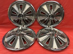 Vintage Set Of 4 1966 Ford Mustang 14 Spinner Hubcaps Good Condition