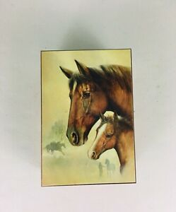 Wood Hinged Box With Horse Heads Design Wooden 5 7 X 4 X 2 5