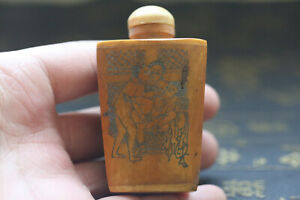 Chinese Hand Carved Man Woman Story Cattle Bone Snuff Bottle Y23