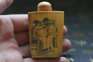Chinese Hand Carved Man Woman Story Cattle Bone Snuff Bottle Y24