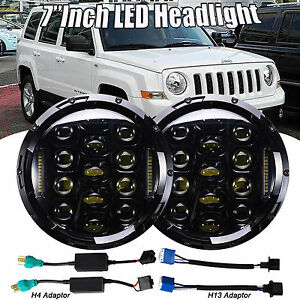 2x7 round Led Projector Headlight Drl For 07 16 Jeep Grand Cherokee Wrangler Jk