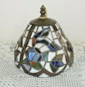 Antique Leaded Stained Glass Brass Lamp Shade Table Light Fixture Birds Flowers